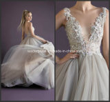 V-Neck Formal Dress A-Line Silver Beading Wedding Gown W1471949