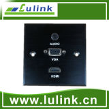 86 Type Aluminium Alloy Wall Plate/Faceplate with 1*3.5mm Audio Module, 1*VGA Female Cable/Connector and 1*HDMI Female Cable