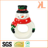 Quality Christmas Decoration Ceramic Snowman Napkin Rings