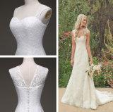 Sleeveless Straps Lace Sheath Sweetheart Bridal Wedding Dresses Chapel Train