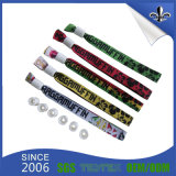 Custom Logo Polyester Fabric Wristband with White Lock