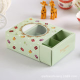 Handle Small Brown Kraft Cake Box with Clear Window Drawer Cake Boxes