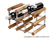 Factory Wholesale Wood Display Stand with Galvanized Steel Wine Rack