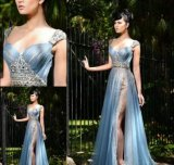 Blue Chiffon Prom Gowns Beading Lace Party Evening Dresses Ld1032