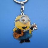 Stainless Iron Metal Full Color Printing Yellow Minion Keychain