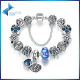 Blue Heart Pendant & Safety Chain Blue Beads Openwork Charms Bracelets Jewelry