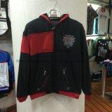 Black contrast red men′s zip-up fleece coat with zipper in adult classic coat clothes FW-8614