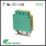 Rail Mounted Grounded Terminal Blocks UL 1000V 115A 18-2AWG