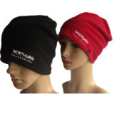 Winter Warm Windproof Polar Fleece Adult Hat with OEM Embroidery Logo in Black and Red Color Beanie Factory