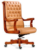 Chesterfield Design Classic Office Executive Chair Wooden Armrest Leather Executive Chair (FOHA-58)