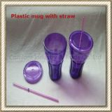 Double Wall Plastic Mug with Straw (CL1C-E217)
