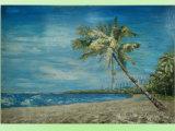 Coconut Tree Blue Sky Seascape/Landscape Oil Painting (LH-088000)