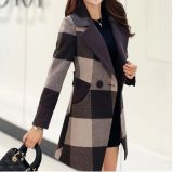 Fashion Check Woolen Long Coat for Ladies
