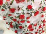Hand Make 3 D Rose Embroidery Newet Arrival Net Lace Fabric for Dress
