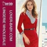 Woman V-Neck Knee Length MIDI Red Office Suit (L36012-1)