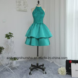 A-Line High Collar Knee-Length Tiered Beaded Lace Cocktail Prom Dress