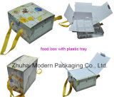 Cheap Price Portable Corrugated Food Packaging Box with Handle and Plastic Tray