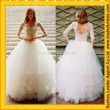 Long Sleeve Ball Gown White Organza Bridal Wedding Dress Rr3015