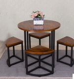 Solid Wood Metal Table and Chairs with High Quality (M-X3012)
