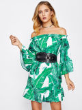 Could Shoulder Women Bardot Frill Trim Jungle Printing Dresses