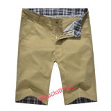 Men Casual Solid Color Khaki Simple Design Leisure Shorts (S-1513)