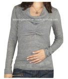 Women Fashion Knitted V Neck Long Sleeve Sweater Clothes (12AW-157)