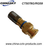 Gold Plated Waterproof Rg59/6 Coaxial Cable BNC Compression Connector (CT5078G/RG59)