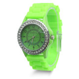 Green Color Custom Designed Colorful Silicone Jelly Watch for Promotional
