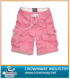 Men′s Pink Beach Short with Embroidery Logo on The Pocket
