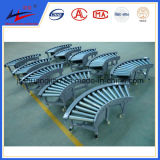 Gravity Roller Conveyor in Warehouse for Bags Transport