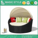 Round Wicker Daybed with Umbrella Garden Sunbed Beach Daybed Leisure Daybed Chaise Sunbed (Magic Style)
