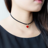 Red Acrylic Heart Necklaces Pendants Simple with Black Leather for Women