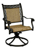 Outdoor/Indoor Home Cast Aluminum Outdoor Bistro Swivel Armrest Chair with Tan Mesh Fabric Back