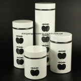 4PC White Stainless Steel Wrap Glass Food Storage Jar Set with Metal Lid