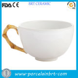 Ceramic Bamboo Handle Design Classic Tea Cup
