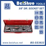 "22PCS 3/8"" Drive Socket Set in Red Metal Box"