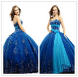 New Deign Ball Gown Ball Gown Strapless Lace up Applique Tulle Blue Quinceanera Dresses (MQ1009)