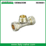 Brass Forged Nickel Plated Compression End Male Tee (AV7014)