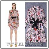 Long Sleeve Fashion Print Women Dress for Ladies