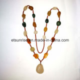 Semi Precious Gemstone Natural Crystal Rough Agate Carnelian Necklace