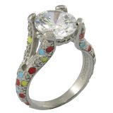 Genuine White Crystal Engagement Fashion Jewelry Ring