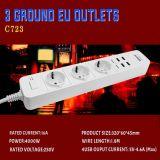 Hot Sale EU 3 Pin Plug Power Strip with USB Outlets 250V 16A