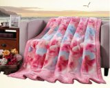Thick Warm 100% Polyester Flower Printed Raschel Blanket