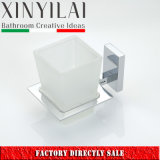 Square Design Chrome Brass Wall Mount Matte Glass Tumbler Holder