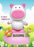 Novelty Solar Power Dancing Pig-White