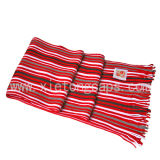 Red Striped Warp Knitted Scarf (JRI019)