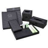 Hotel Black PU Leather Amenities Tray with Velvet
