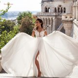 Cap Sleeves Bridal Party Prom Gowns Chiffon Evening Dress E17922