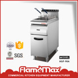 1-Tank 2-Basket Stainless Steel Gas Chip Fryer with Cabinet (HGF-90A)