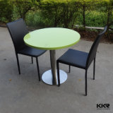White Round Modern Solid Surface Dining Table Set